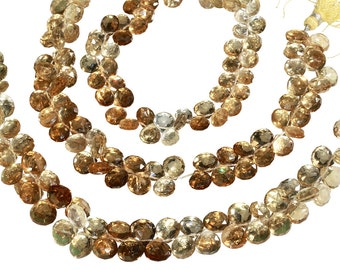 10 IN Strand 8 mm Cognac Quartz Fine Quality Pear Shaped Faceted Gemstone Beads (CG100106)