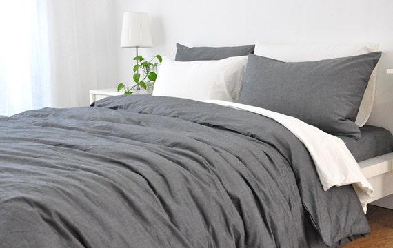 Grey Chambray Linen Duvet Cover Handmade By