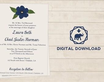 Single Flower Wedding or Party Invitation Printable