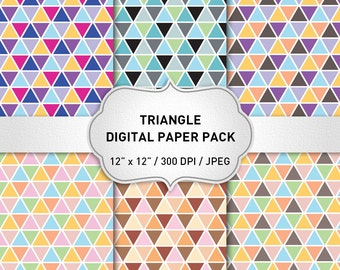 Triangle Digital Paper Pack, Geometric Digital Paper, Printable Paper, Instant Download, Collage Sheet, Blog Background
