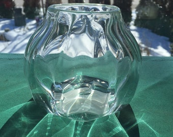 Creased clear glass votive holder (AW V322)