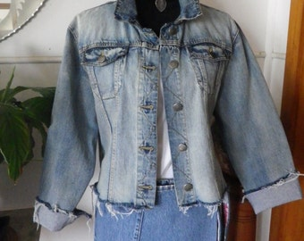 Frayed denim jacket with sheer back panel