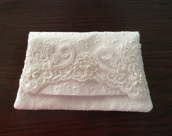 Bridal purse, wedding clutch purse, White eyelet bridal purse