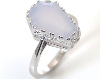Coffin Ring 5ct Solitaire Blue Chalcedony Set In Sterling Silver