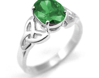Sterling Silver 1.5ct Oval Emerald Trinity Knot Ring (254)