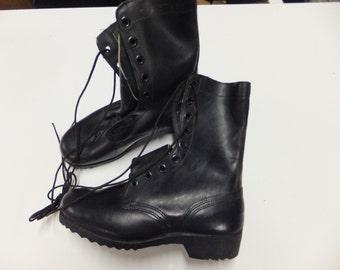Vintage Genuine Leather Army Combat Boots 7W Original Era 1950's or 60's era New