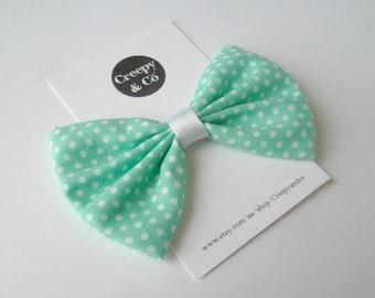Pastel Goth, Creepy Cute, Mint Green, Polka Dots, Fabric Hair Bow, Hair Bow for Girls, Hair Bows for Women, Hair Clip, Hair Accessories