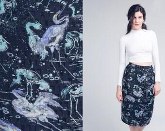black skirt with bird print design / high waisted pencil  skirt / vtg 80s / s