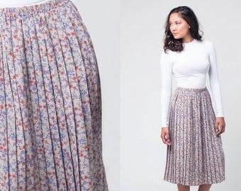 cream floral skirt / multicoloured pleated midi skirt / vtg 80s / m