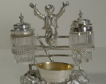 Charming Antique English Figural Silver Plated Novelty Cruet - Reg. 1873