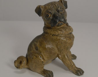 Magnificent Large Austrian Cold Painted Bronze Dog Inkwell - Pug c.1900
