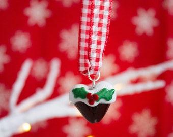 SALE - Christmas Pudding Decoration - Christmas Tree Decoration - Tree Ornament - Figgy Pudding - Glass Christmas Pudding - UK -January Sale