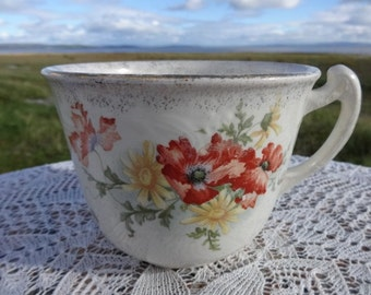 Large Antique Victorian Tourist Ware Cup Oversized with text ' I am not greedy but I like a lot '