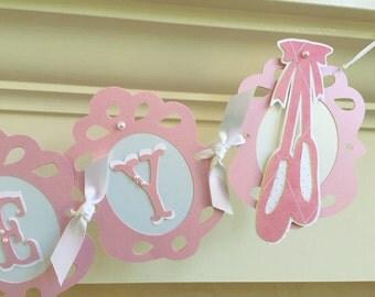 Pink and White Ballerina Banner, Ballerina Theme Party, Ballerina Name Banner, Pink Baby Shower