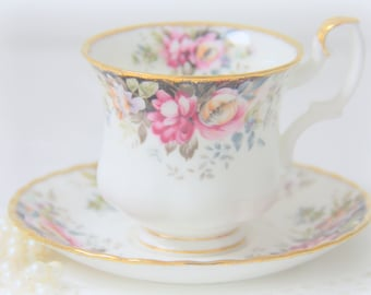 Vintage Royal Albert Bone China Cup and Saucer, 'Autumn Roses', Lady Size