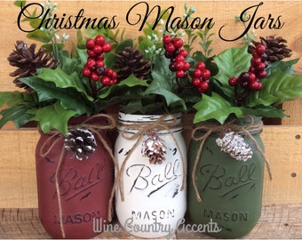 Painted Mason Jars. Christmas Decor. Vase. Home Decor. Holiday Decor. Rustic Decor. Christmas Jars. Gifts.