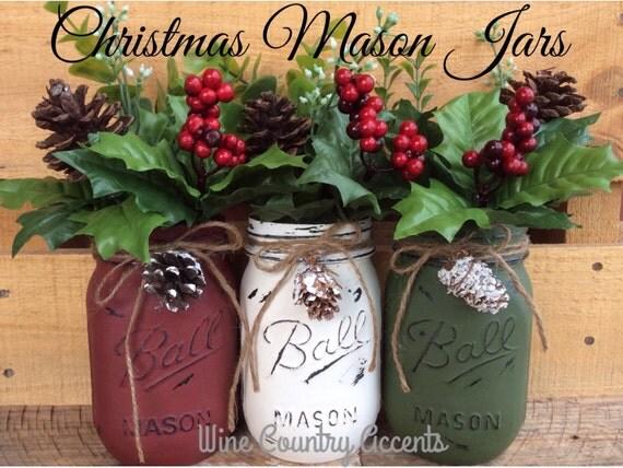 Painted Mason Jars. Christmas Decor. Vase. Home Decor. Holiday Decor ...