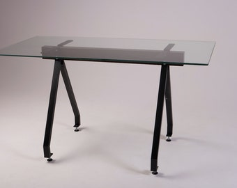 Glass Top Industrial Style Dining Table