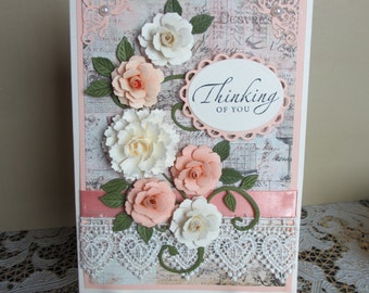 Handmade embellished peach and ivory thinking of you card