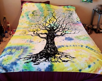 Tree of life tie-dyed tapestry