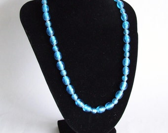 Blue Foiled Glass Bead Necklace