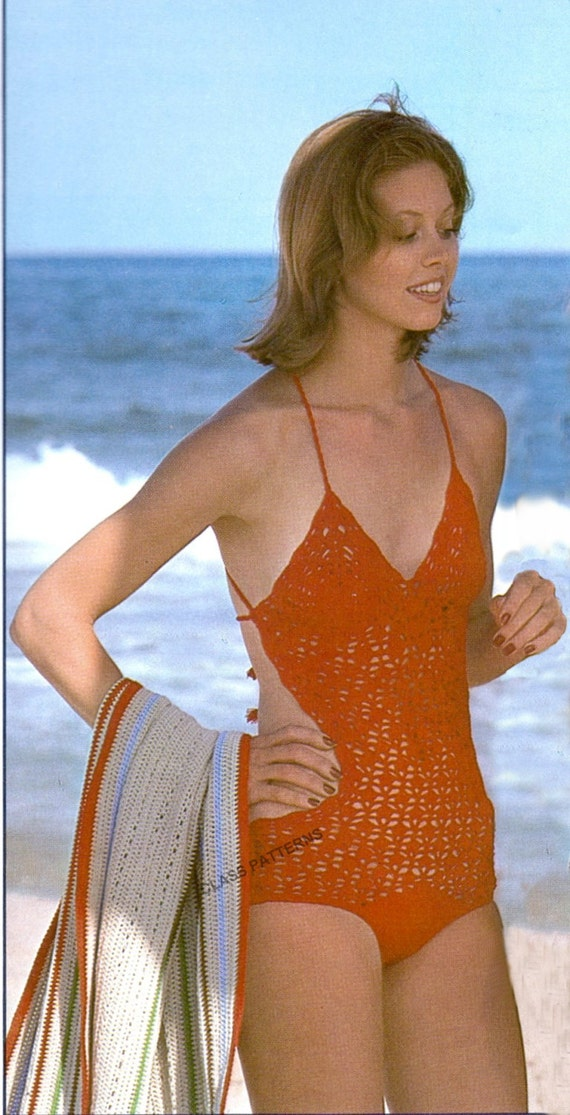crochet pattern, monokini, beach swim wear, crochet pattern, vintage ...