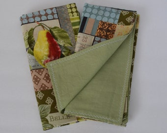 Lunch Napkin Set Green/Brown Birds and Pear Print