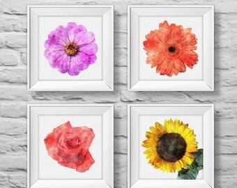 Floral Bouquet #2 (set of four) unframed square art prints, nature, floral, watercolor, photography, wall decor. (R&RBOUQUET2)