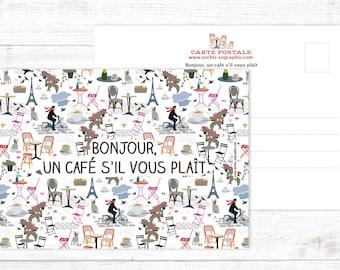 """Postcard """"Bonjour un café"""""""