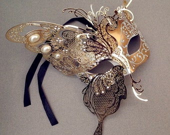 Luxury Venetian Carnival Metal Black White Gold Butterfly masquerade mask for Masquerade Wedding Anniversay costume party