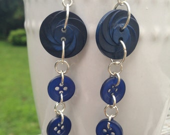 Navy and Royal Blue Button Earrings
