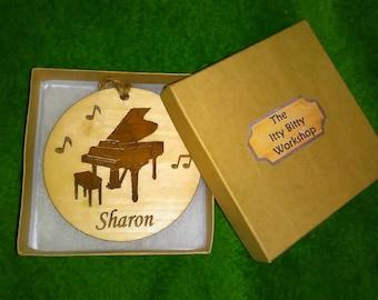 Piano Custom Engraved Christmas Ornament