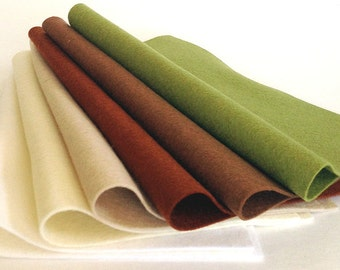 "Six pack 8"" x 12"" Sheets Neutral Merino Wool Felt"