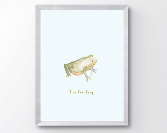 Watercolor Frog Nursery Print - F is for Frog - Nursery Animal Alphabet Print - Kids Room Decor - Cute Frog Nursery Print