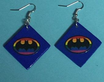 Rainbow Batman Earrings