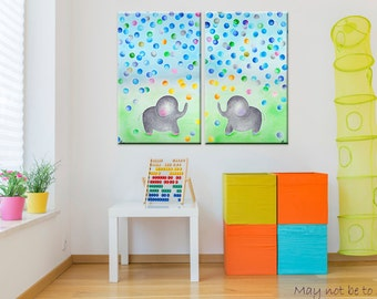 Elephant nursery art - Elephant print on canvas - Kids room wall art - Playroom decorations - Baby Boy room decor - Girl nursery idea - Gift