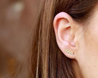 Minimal ear climbers - triangle diamond shape earrings- triangle ear climbers, minimal earrings- Rhomboid Earrings