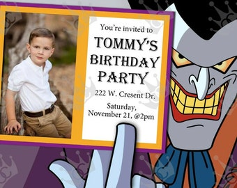 Joker Party Invites/Kids Birthday Party Invites/DIY/Print @ Home/With or Without Photo