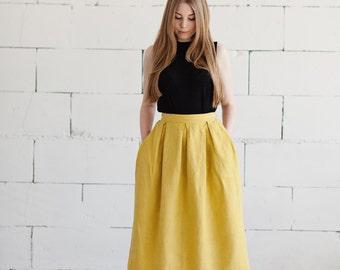100% Linen Yellow Skirt, hand made in London, sustainable, artisan, fashion