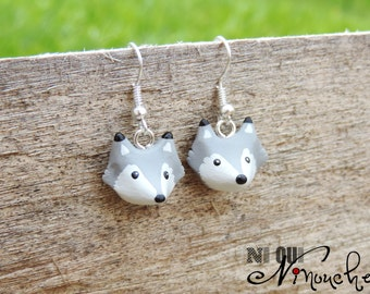 Earrings grey wolves (fimo) small head of little wolf cub