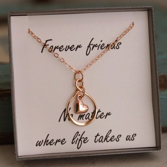 Friendship Necklace- Rose Gold Plated Infinity Necklace with heart - Forever Friends - Long distance