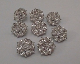 8 Super Sparkly Rhinestone Buttons. UK.