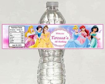 Disney Princess Birthday Water Bottle Label - Printable