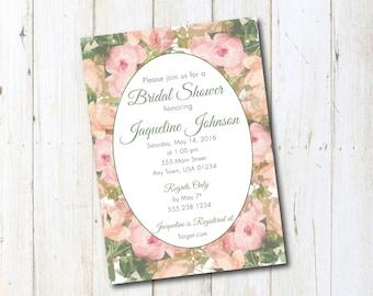 Flower Wedding Shower Invitations, Flower Border Invitations, Wedding Shower Invitations, Pink and Sage Shower Invitations