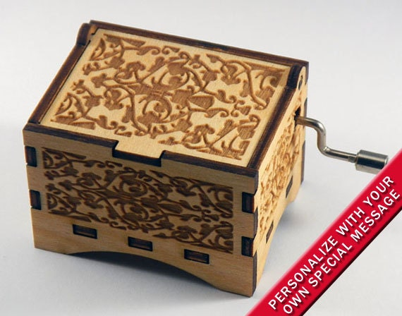 music box harry potter laser engraved wood hand by