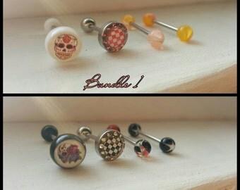 Sugar skull tongue ring bundle