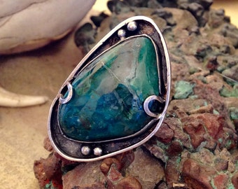 Gem Silica and Sterling Silver Statement Ring
