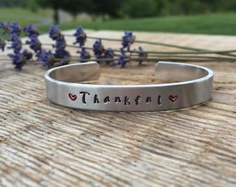 Thankful bracelet - thankful jewelry - inspirational jewelry - practice thankfulness