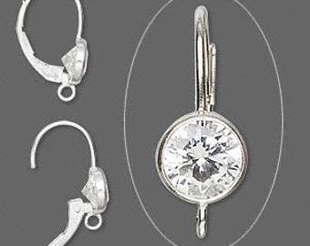 Sterling Silver Earwire, Cubic Zirconia, 17mm leverback, 6mm gemstone