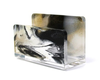 Business Card Holder-Acrylic-Marbled-Gold-Black-White-Desk-Accessory-Made in USA